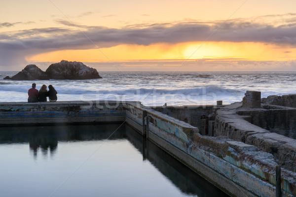 Sunset over Sutro Baths Ruins Stock photo © yhelfman