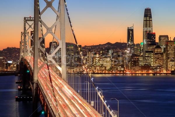 サンフランシスコ 橋 スカイライン 夕暮れ 水辺 ストックフォト © yhelfman