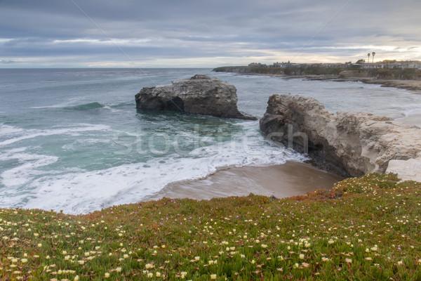 日没 自然 橋 ビーチ サンタクロース カリフォルニア ストックフォト © yhelfman