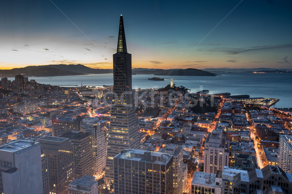 Aerial Views of City Skyline and San Francisco Bay from Downtown, Dusk Stock photo © yhelfman