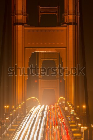 Pesante traffico notte Golden Gate Bridge view primo piano Foto d'archivio © yhelfman