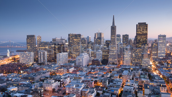 San Francisco Downtown from top of Coit Tower in Telegraph Hill, Dusk. Stock photo © yhelfman