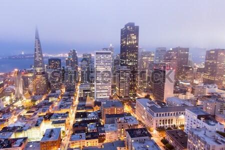 Légi San Francisco pénzügyi negyed domb naplemente ködös Stock fotó © yhelfman