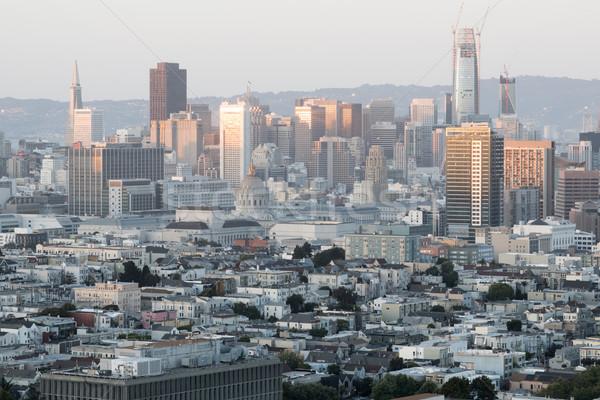 Sunset Lights on San Francisco Downtown. Stock photo © yhelfman