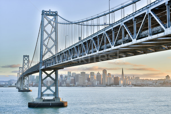 Photo stock: Coucher · du · soleil · pont · San · Francisco · Skyline · Californie · vue