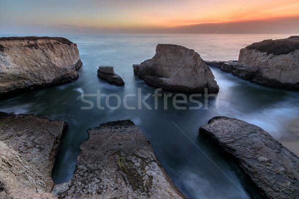 Schemering haai vin tand strand Stockfoto © yhelfman