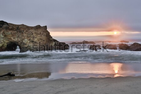Sunset over Pescadero State Beach in San Mateo County, California Stock photo © yhelfman