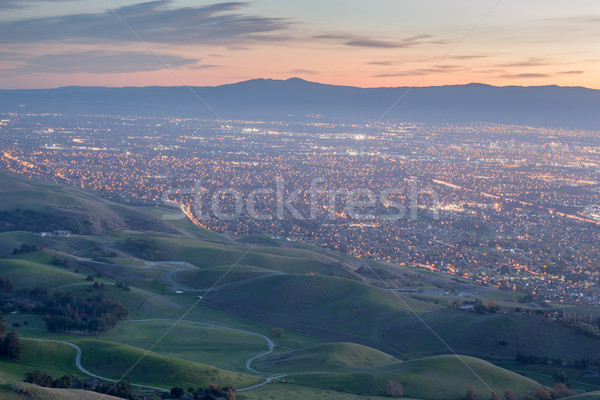Stock photo: Silicon Valley and Green Hills at Dusk. Monument Peak, Ed R. Levin County Park, Milpitas, California