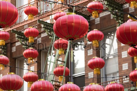Rood brand chinese lantaarns muur straat Stockfoto © yhelfman