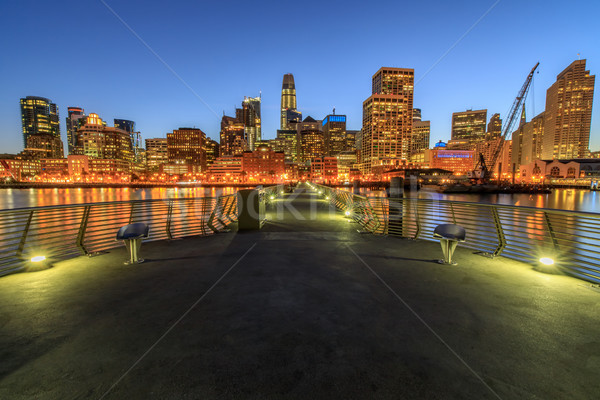 Panoramique vue San Francisco centre-ville nuit pier Photo stock © yhelfman