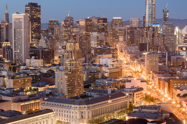 Aerial View of San Francisco Downtown and Market Street at Dusk. Stock photo © yhelfman