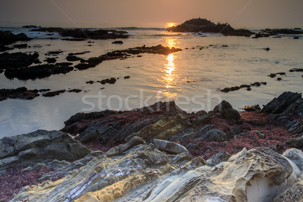 Rock Formation Coastline Sunset. Stock photo © yhelfman