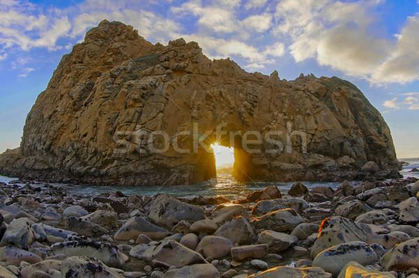 Plage serrure Rock grand Californie USA Photo stock © yhelfman