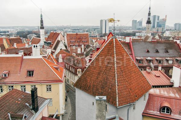 Oude binnenstad Tallinn daken Estland luchtfoto stad Stockfoto © yhelfman