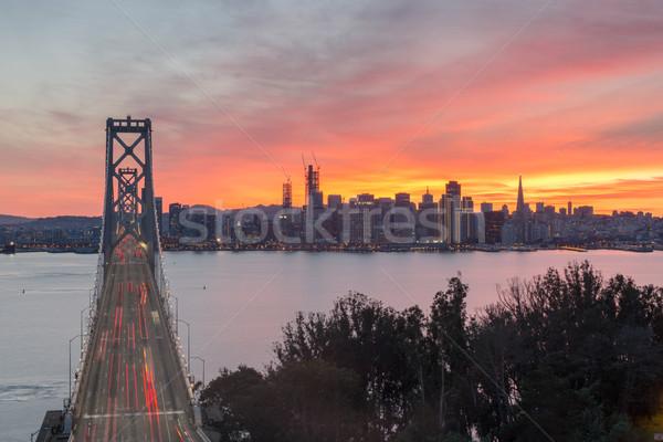 Luchtfoto brug zonsondergang verticaal stad Stockfoto © yhelfman