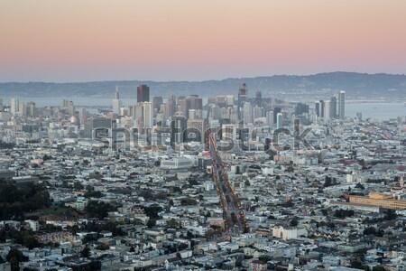 Centro da cidade San Francisco gêmeo crepúsculo Foto stock © yhelfman
