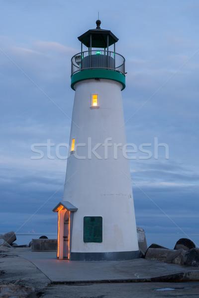 Dusk over Breakwater (Walton) Lighthouse, Santa Cruz, California Stock photo © yhelfman