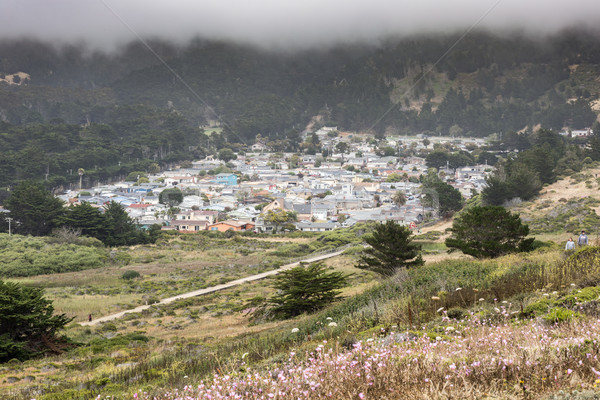 Vallemar neighborhood of Pacifica in a foggy summer day. Stock photo © yhelfman