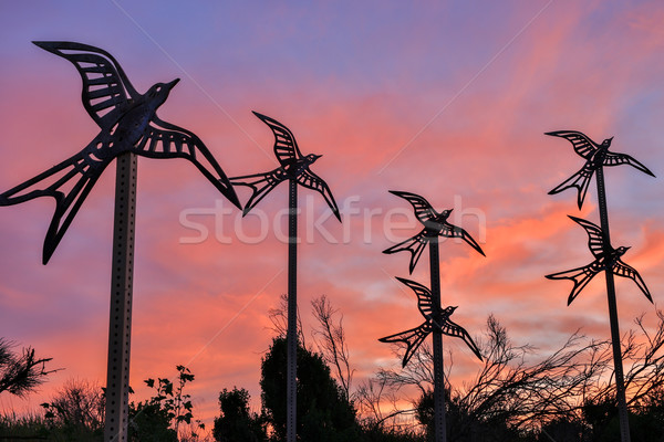 Metal birds flying into the sunset skies. Shoreline Park, Mountain View, California Stock photo © yhelfman
