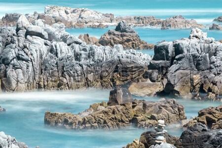 Brzegu plaży półwysep charakter kamień fale Zdjęcia stock © yhelfman