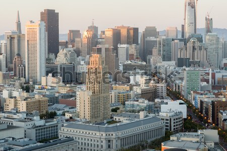 Aerial View of San Francisco Downtown and Market Street at Sunset. Stock photo © yhelfman