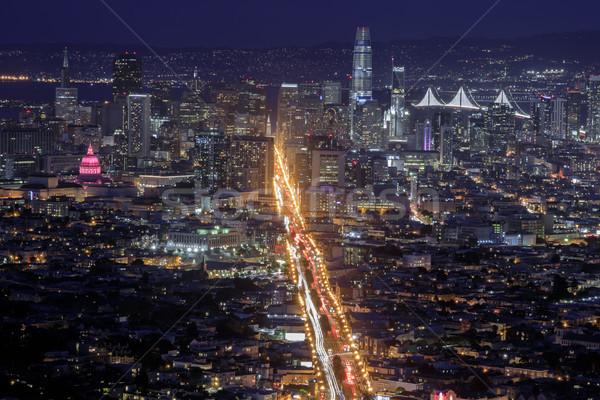 San Francisco lumières de la ville jumeau marché rue centre-ville Photo stock © yhelfman