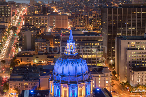 Aerial View of San Francisco City Hall at Night with Golden State Warriors Colors. Stock photo © yhelfman