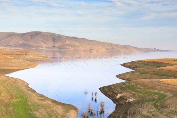Reservoir najaar Californië USA water wolken Stockfoto © yhelfman