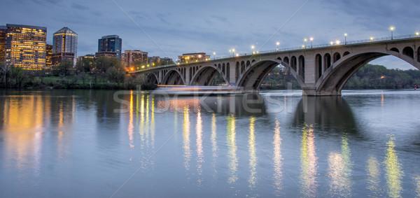 Dusk over Key Bridge and Rosslyn, Washington DC, USA Stock photo © yhelfman