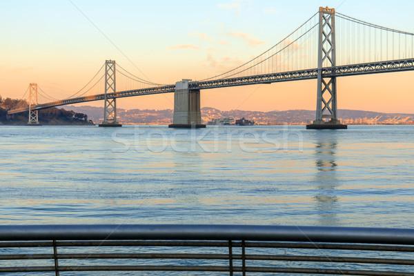 San Francisco brug pier 14 zonsondergang Californië Stockfoto © yhelfman