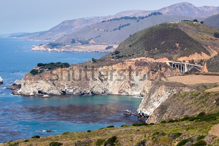 Pacific Ocean Coastline and Bixby Bridge, Big Sur, California, USA Stock photo © yhelfman