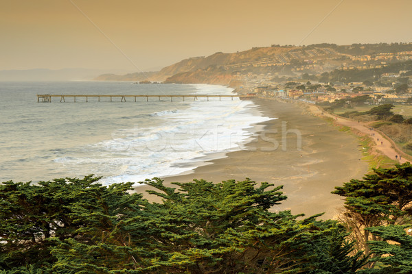 Pacifica Coastline with Smoky Skies after Napa fire. Stock photo © yhelfman