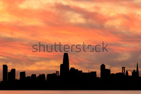 San Francisco Waterfront Sunset silhouette. Stock photo © yhelfman