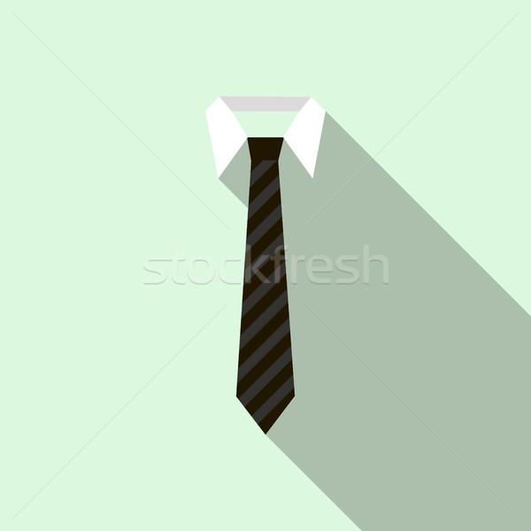 Fekete nyakkendő póló ikon stílus csíkos Stock fotó © ylivdesign