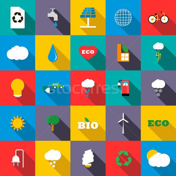 Ecology icons set, flat style Stock photo © ylivdesign