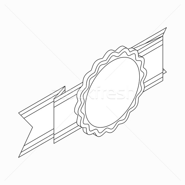 Rosette with ribbon icon, isometric 3d style Stock photo © ylivdesign