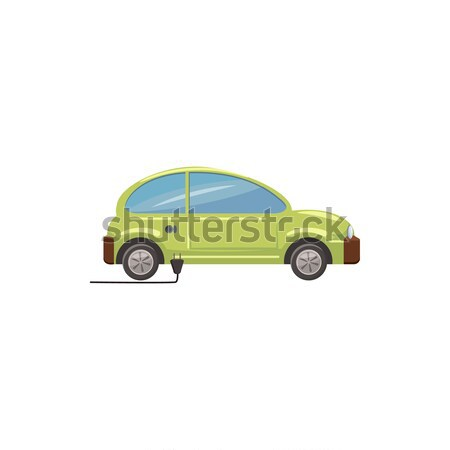 Zöld elektromos autó ikon rajz stílus fehér Stock fotó © ylivdesign