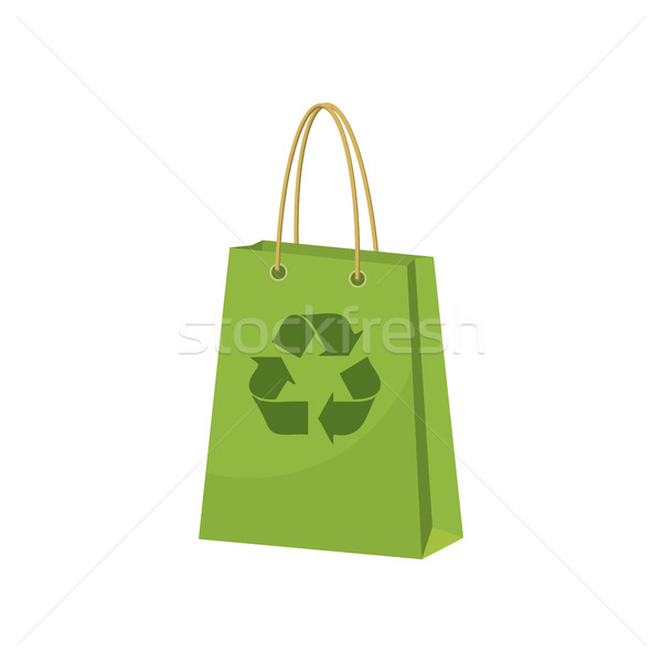 Groene papier boodschappentas recycling symbool icon Stockfoto © ylivdesign