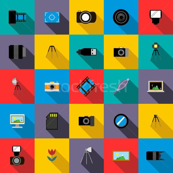 Stock fotó: Fotó · stúdió · felszerlés · ikon · szett · stílus · fény