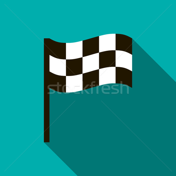 Chequered flag icon, flat style Stock photo © ylivdesign