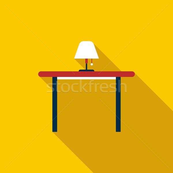 Asztal padló lámpa ikon stílus hosszú Stock fotó © ylivdesign