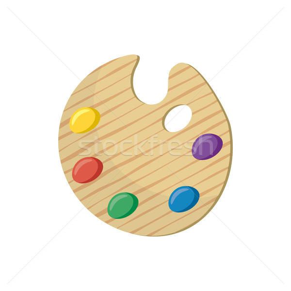 Wooden art palette with paints icon, cartoon style Stock photo © ylivdesign
