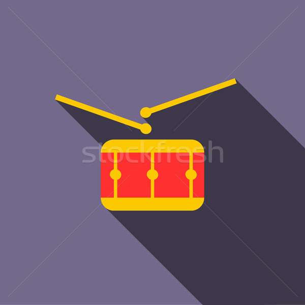 Red drum and drumsticks icon, flat style Stock photo © ylivdesign