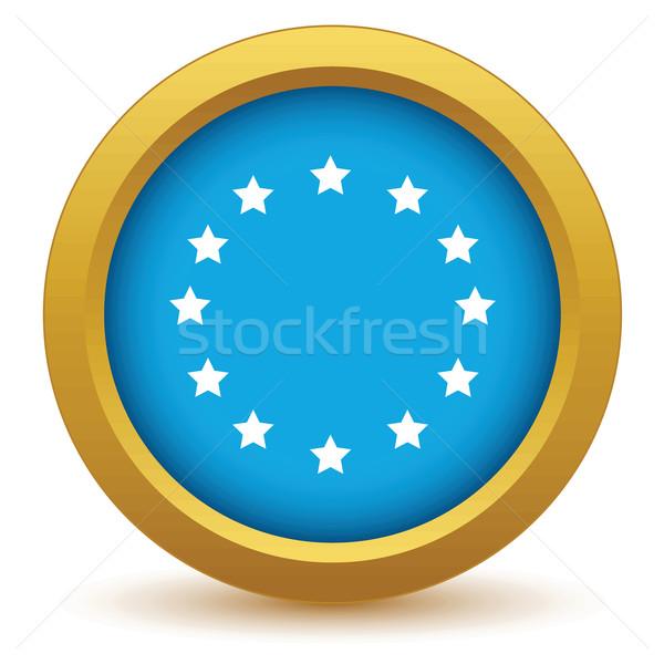 Gold European Union icon Stock photo © ylivdesign