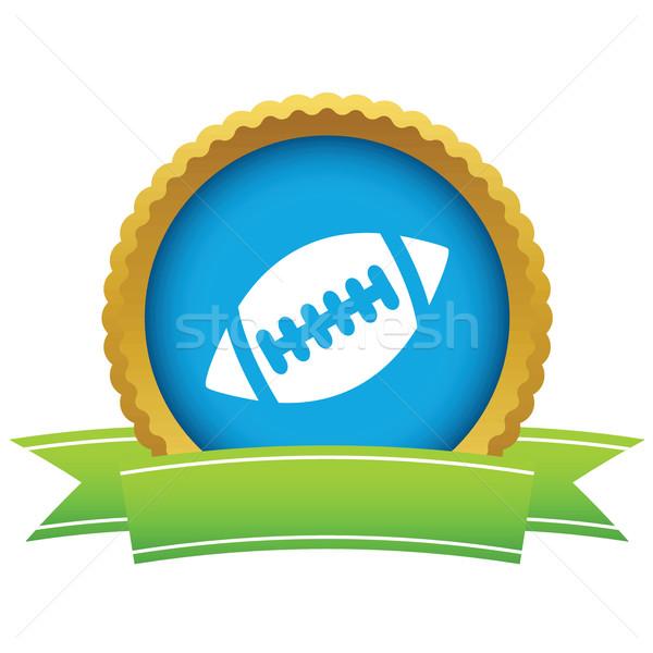 Rugby ball ikona wstążka obraz odizolowany biały Zdjęcia stock © ylivdesign