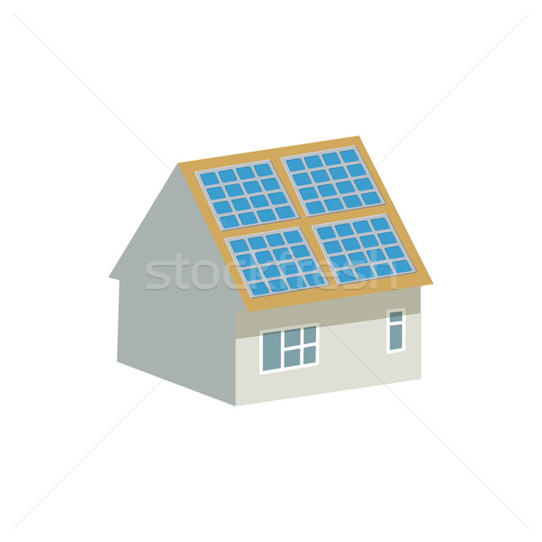 House with solar batteries on the roof icon Stock photo © ylivdesign