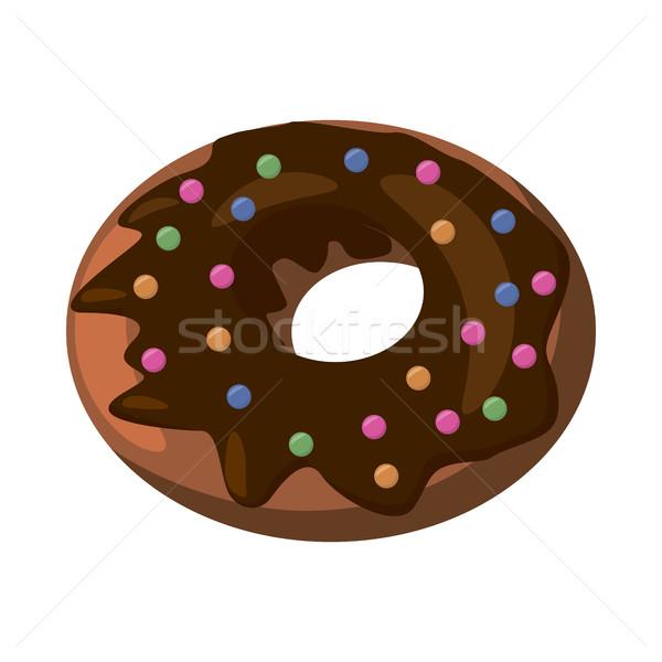 Pączek ikona cartoon stylu czekolady wisienką Zdjęcia stock © ylivdesign