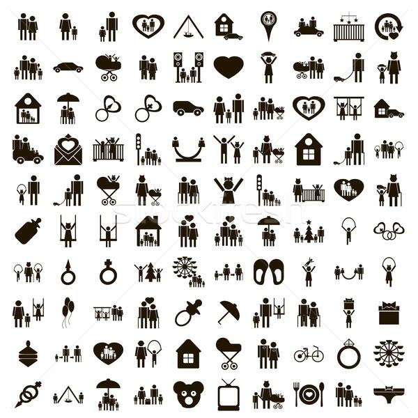 100 家族 単純な スタイル 白 ストックフォト © ylivdesign