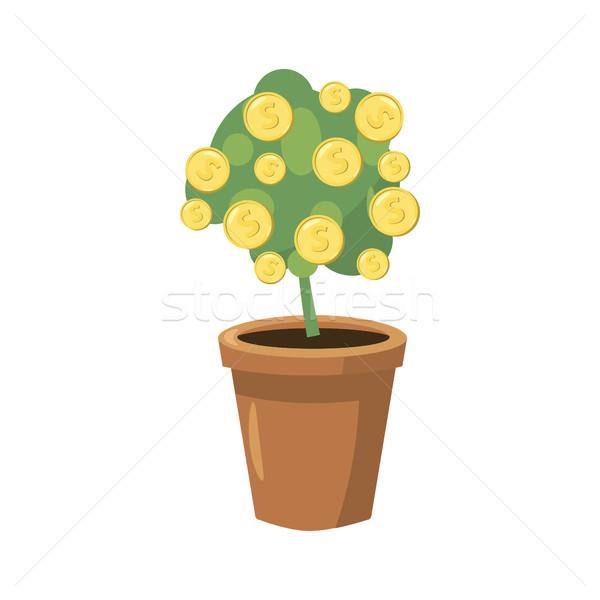Dekoratif ağaç saksı ikon karikatür stil Stok fotoğraf © ylivdesign