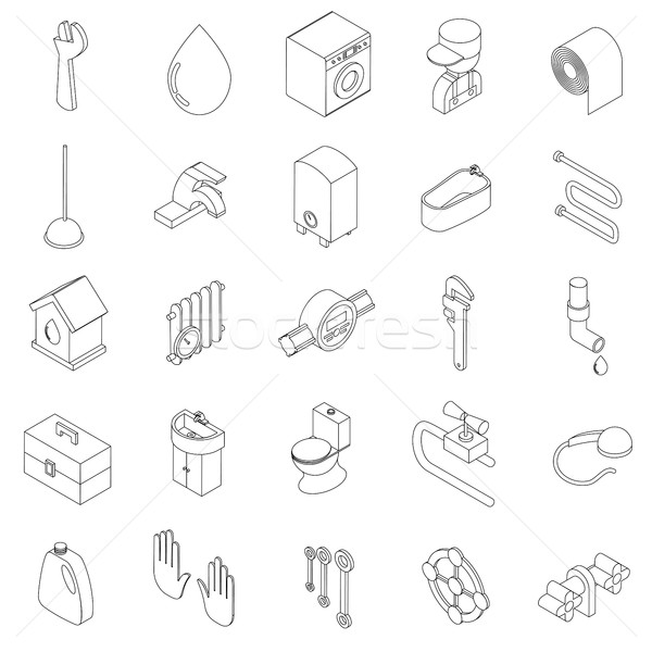 Sanitary engineering icons set Stock photo © ylivdesign